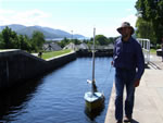 Towing Chance through Neptune's Staircase, Caledonian Canal, Fort William